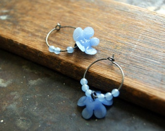Cornflower Blue Hoop Earrings - vintage periwinkle glass flowers and oxidized sterling silver hoop earrings - Free Gift Wrap