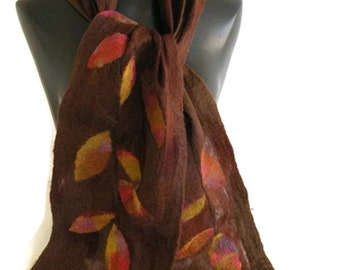 Nuno Felt Scarf MUIR WOODS with Felted Leaves