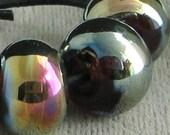 5 Lampwork Spacer Handmade Glass Beads Amber Aurora