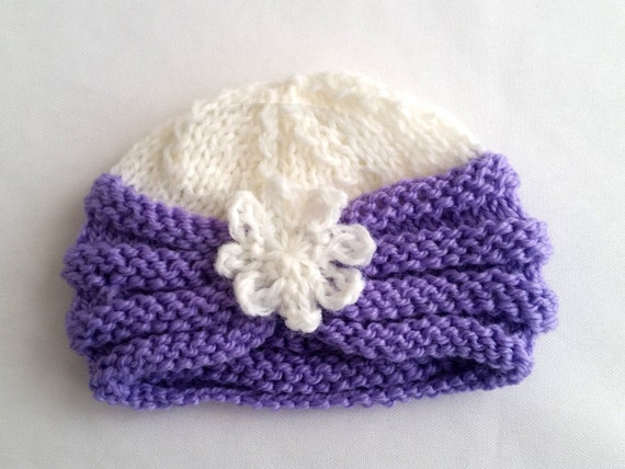 Knitting Pattern For Baby Turban : Knit Pattern, Baby Hat Pattern, Knitted Baby Turban, Simple Knit Hat for Baby...
