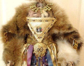 """PATTERN & Kit, to make  QUEEN PURRSHA, 18"""" (46 cm) Tall, Cloth Doll, Tutorial, Supplies, Instructional, Projects, Cats, Michelle Munzone"""
