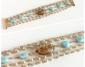 Pearl and Gold Bracelet Aqua Sky Blue Larimar Dolphin Stones Pectolite Tan Focal Bead - Wire-Wrapped 5 Strands Handmade w/ Vintage Materials