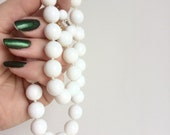 Vintage White Milk Glass Necklace - Hand Knotted Bead Strand by Les Bernard - Nice Heavy Weight - Signed Hang Tag - Simple Versatile Classic