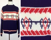 Vintage Navy Blue Sweater with Red and White Stripes and Geometric Shapes Designs - Lines, V Shapes, Dashes - Montgomery Ward Soft Acrylic
