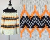 Vintage Black and White and Orange Sweater - Zig Zag Chevron Stripes - Bright Fluorescent Orange - Fall Autumn Unisex Clothing Warm and Cozy
