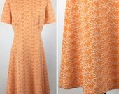 Vintage Orange and White Dress - Textured Raised Print - Bright Citrus Color - Short Sleeves, A-Line Skirt, Knee Length - Nice Silhouette