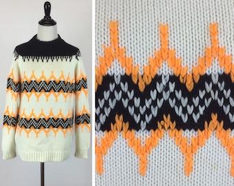 Black and Orange Sweater - Zig Zag White Stripes - Bright Orange Chevron - Fall Autumn Halloween - Warm Vintage 60s Sweater - Unisex Sweater