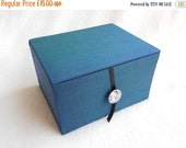 CLOSING SALE Peacock Green Silk and Crystal Keepsake Hand Stitched Fabric Trinket Jewellery Box