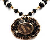 """PHANTOMS Upcycled Victorian Mourning Hair Necklace Pendant """"Altered Heirlooms"""" by Nouveau Motley Pearls Black Enamel Jet"""
