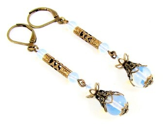 Edwardian Style Drop Earrings with Sea Opals and Brass Filigree