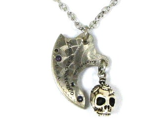 """CLEARANCE 50% OFF Steampunk Charm Necklace """"Berried in Time"""" Amethyst Beads in Antiqued Silver Guilloche Engraved Details by Nouveau Motley"""