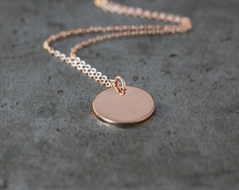 Rose Gold Disk Necklace, 14k Gold Filled Chain, Simple Everyday Circle, Versatile Layering Jewelry, Dainty Necklace, Handmade Jewelry