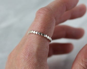 Sterling Silver Dot Ring, Thick Dotted Band, Shiny Circles, Hammered Flat, Simple Everyday Jewelry, Silver Stacking Ring
