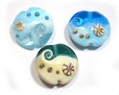 Sea Side Lampwork  Beads, Lampwork Beads,  Handmade glass beads, Ocean Beads, Seaside Beads,  Beach Beads, Wave Focal Beads