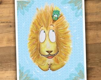 Lion Print Illustrated Funny Silly lion for little girl or boy room nursery print kid's art children art children print