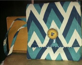 Chevron Wristlet blue Bag Clutch
