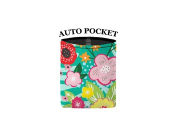 Auto Pocket - Floral Burst - Wintermint - Car Accessory Automobile Caddy Pouch Cell Phone Sunglasses Coin Cell Caddy Charger