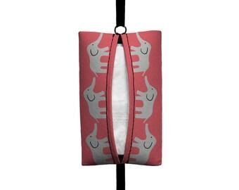 Auto Sneeze - Elephants - Visor Tissue Case/Cozy - Car Accessory Automobile - Coral Pink Grey Baby Elephant