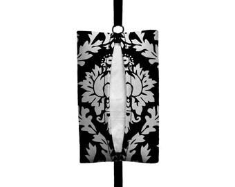Auto Sneeze - Damask - Visor Tissue Case/Cozy - Car Accessory Automobile Black White