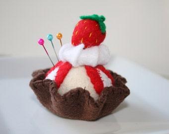 Mini Strawberry Sundae Pin Cushion