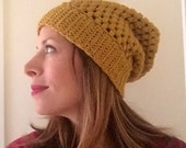 Gold slouchy hat in crochet puff stitch ready to ship