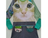 Size 12 (57 1/2 inch height) upcycled tshirt girls dress with  print Cat