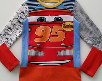 Size 4T(40 inch) Upcycled Boys long sleeve tee shirt Cars