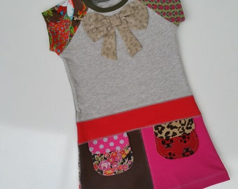 Sale! now 30%off Size 4T (41 inch height) Upcycled shirt girls dress bow
