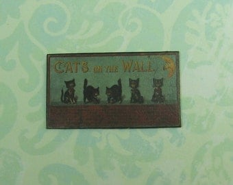 Dollhouse Miniature Cats on the Wall Picture/Plaque