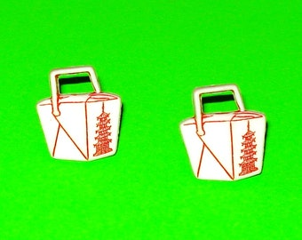 LAST ONE! Chinese Takeout Box Post Earrings