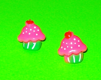 Super Yummy Cherry Pink Cupcakes Post Earrings