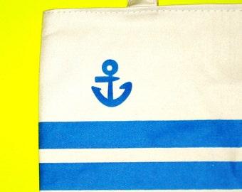 Blue Striped Anchor Nautical Rockabella Tote