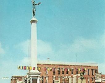 Vintage 1950s Postcard Angola Indiana Hoosier State Sidewalk Days Parade Old Car Festival Civil War Statue Photochrome Era Postally Unused