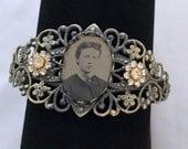 Bracelet -The Eldest Sister - Antique Tintype Brass Filagree Assemblage