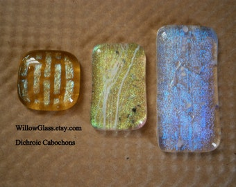 Dichroic Fused Glass Cabochons, Your Choice Dichroic Cab, Willow Glass