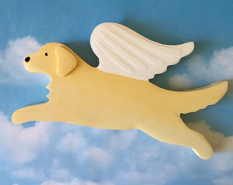 Golden Retriever Angel Dog Rustic Wood Decoration