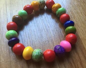 Rainbow HOWLITE Beaded Stretch Bracelet