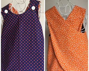 Reversible Pinafore Top or Dress for Girls size 4-6T Blue & Orange Polka Dot