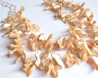 The Bora Bora- Mother of Pearl Statement Necklace