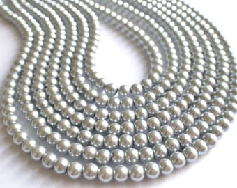 The Jamie- Silver Glass Pearl Statement Necklace