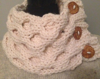 Cream Cowl Hand Chunky Honeycomb Neck Warmer with Large Wood Buttons Free Shipping