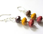Mookaite Dangle Earrings, Mookaite and Sterling Silver Stack Earrings, Faceted Mookaite and Sterling Silver, Boho Earthtone Earrings