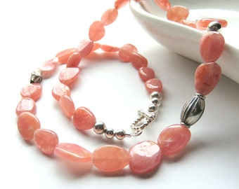 Peach Rhodochrosite Beaded Necklace, Pastel Peach, Sterling Silver and Rhodochrosite, Modern Gemstone Jewelry, Beaded, Toggle Clasp