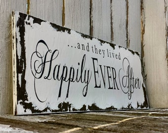 and they lived HAPPILY EVER AFTER Sign / Vintage Wedding Sign / Shabby Chic Wedding / Rustic Wedding Decor / Wooden Sign / Ring Bearer Sign