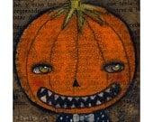 Jack the mischevous pumpkin king - Halloween mixed media painting print Danita Art, whimsical art on wood or frameable paper print