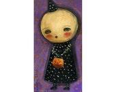 Ghost head little girl in costume - Halloween mixed media painting print Danita Art, whimsical art on wood or frameable paper print