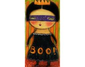 Spooky primitive witch princess -  Halloween mixed media painting print Danita Art, whimsical art on wood or frameable paper print