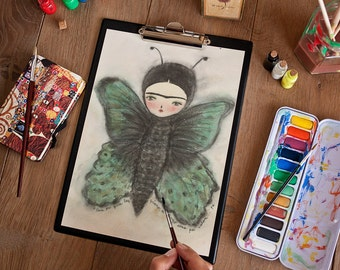 Frida with butterfly wings - Original mixed media painting by Danita, frameable wall art prints and ready to hang wood blocks.