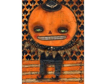 Jack the pumpkin King Boy -   Halloween mixed media painting print Danita Art, whimsical girl mounted on wood or frameable paper print