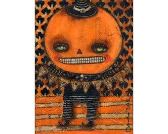 Jack the pumpkin King Boy -   Halloween mixed media painting print Danita Art, whimsical girl mounted on wood or frameable paper print